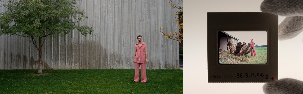 Milner wears a pink pantsuit around the museum grounds which was created to match an outfit previously worn by Patricia Still. Milner handles a slide in the CSM archives. Partricia Still in a pink pantsuit. Photographs by Matt Slaby.